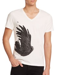 Tee Library Ring And Ravens V Neck Basic Tee White Black