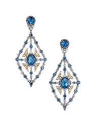Konstantino Thalassa London Blue Topaz 18K Yellow Gold And Sterling Silver Chandelier Earrings Silver Multi