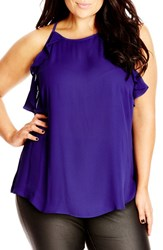 Plus Size Women's City Chic 'Soft Ruffle' Sleeveless Top