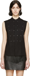 Diesel Black Gold Black Studded And Pleated Cefet Shirt