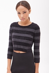Forever 21 Chenille And Metallic Knit Crop Top