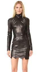 Thierry Mugler Long Sleeve Leather Dress Black