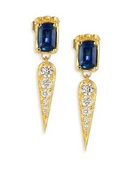 Ila Claude Diamond Blue Sapphire And 14K Yellow Gold Drop Earrings Gold Blue Sapphire