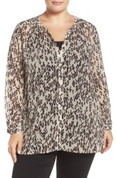 Lucky Brand Plus Size Women's Print Band Collar Blouse