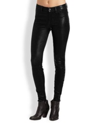 J Brand Mid Rise Leather Skinny Jeans Black