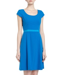 Marc New York By Andrew Marc Two Tone Ribbon Trim Fit And Flare Dress Blue Jay