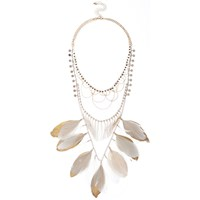River Island Womens White Feather Bib Necklace