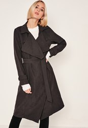 Missguided Black Waterfall Duster Coat
