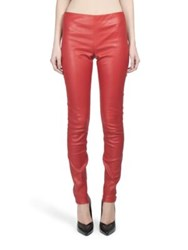 Saint Laurent Stretch Leather Leggings Rouge