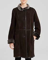 Maximilian Stand Collar Lamb Shearling Coat With Leather Trim Brown