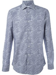 Etro Palmtree Stripe Shirt Blue