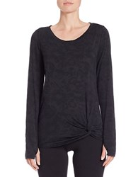 Betsey Johnson Knotted Front Burnout Floral Top Black