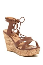 Elegant Footwear Topaz Lace Up Wedge Sandal Brown