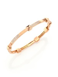 Marli Pyramide Diamond And 18K Rose Gold Boheme Oval Bangle Bracelet