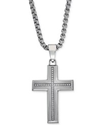 Esquire Men's Jewelry Diamond Cross Pendant Necklace 1 6 Ct. T.W. In Stainless Steel First At Macy's
