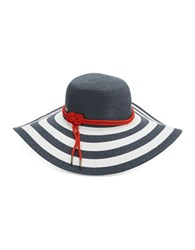 Betmar Striped Straw Sun Hat White Navy