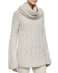 Loro Piana Cashmere Chunky Cable Knit Tunic Sweater