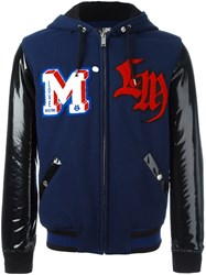 Love Moschino Patch Detailing Hooded Bomber Jacket Blue