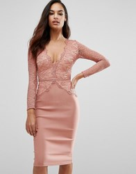 Rare London Plunge Scallop Lace Midi Dress Pink