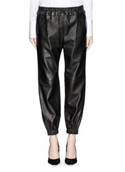 Alexander Mcqueen Tuxedo Stripe Leather Track Pants Black