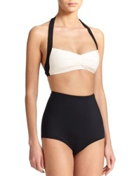 Carmen Marc Valvo Pleated Halter Bikini Top Black White