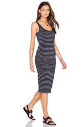 Monrow Stripe Shirred Tank Dress Charcoal