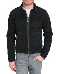 Scotch And Soda Zip Up Multipocket Black Washed Denim Jacket