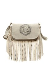 T Shirt And Jeans Embellished Fringe Crossbody White