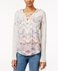 American Rag Printed Lace Up Hoodie Only At Macy's Egret Comb