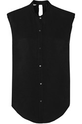 Helmut Lang Cutout Knotted Twill Top Black