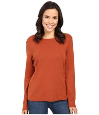 Pendleton L S Jewel Neck Cotton Rib Tee Arabian Spice Heather Women's Long Sleeve Pullover Orange