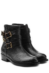 Rupert Sanderson Leather Ankle Boots With Buckled Straps Black