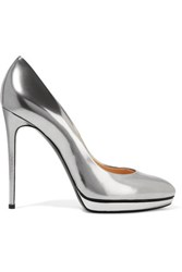 Casadei Metallic Patent Leather Pumps Silver