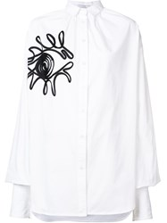 Tome Oversized Gathered Embroidered Shirt White