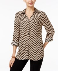 Ny Collection Chevron Print Utility Shirt Tan Black Chevron