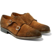 O'keeffe Bristol Suede Monk Strap Shoes Brown