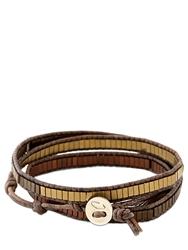 Colana Leather Wrap Bracelet W Multi Hematite Brown Gold Red