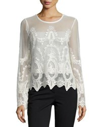 Neiman Marcus Long Sleeve Embroidered Mesh Top Black