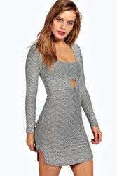 Boohoo Chelsea Jacquard Plunge Bodycon Dress Multi