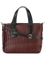 Dkny Two Tone Pleated Tote Red