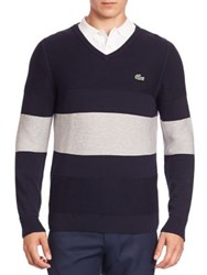 Lacoste Striped Colorblock Sweater Navy Blue Silver France Navy Blue