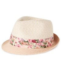 Nine West Floral Print Band Packable Fedora Pink