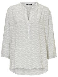 Betty Barclay Printed V Neck Blouse White Grey