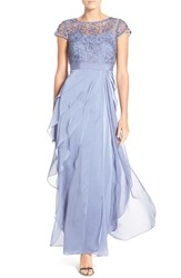 Adrianna Papell Petite Women's Layered Chiffon And Lace Gown