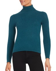 Lord And Taylor Petite Cashmere Turtleneck Sweater Teal Heather