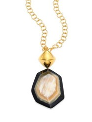 Nest Faceted Horn Pendant Necklace Gold Multi