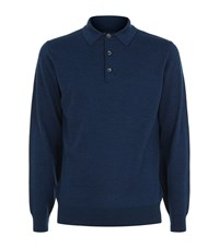Barbour Perforated Knit Polo Shirt Male Blue