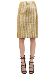 Pedro Lourenco Quilted Metallic Cotton Blend Skirt