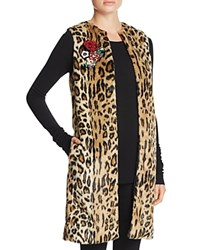 Alice Olivia And Jade Faux Fur Leopard Vest Brown Multi