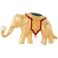 Susan Caplan Vintage 1970S Monet Gold Plated Faux Pearl And Enamel Elephant Brooch Gold